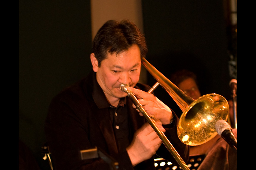 Chris Amemiya - Man playing trombone