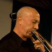 Steve Kirk playing trombone